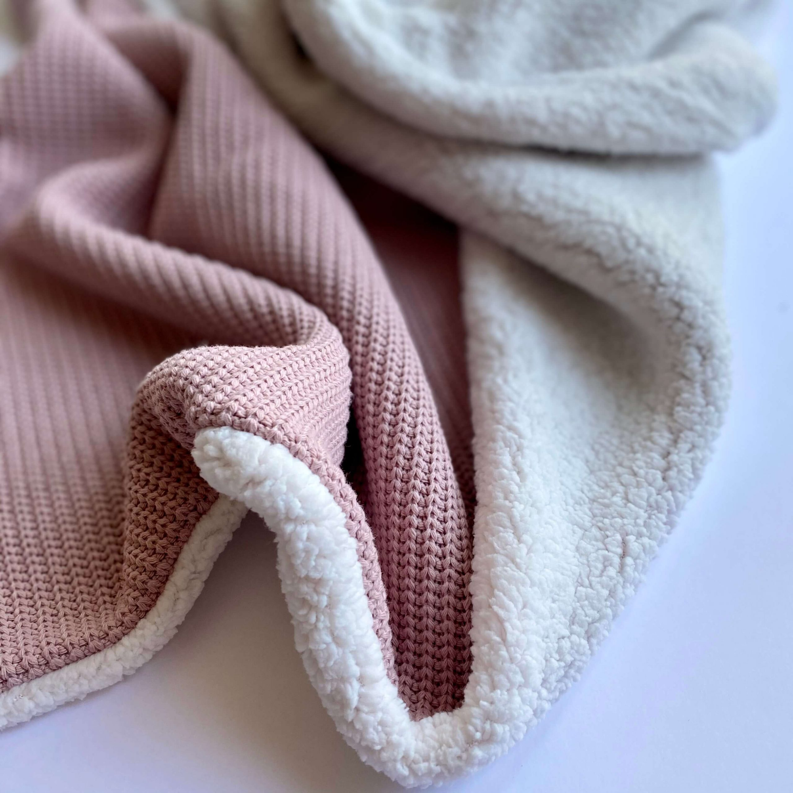 Knitted Square Baby Blanket Old Pink Tinyone Shop