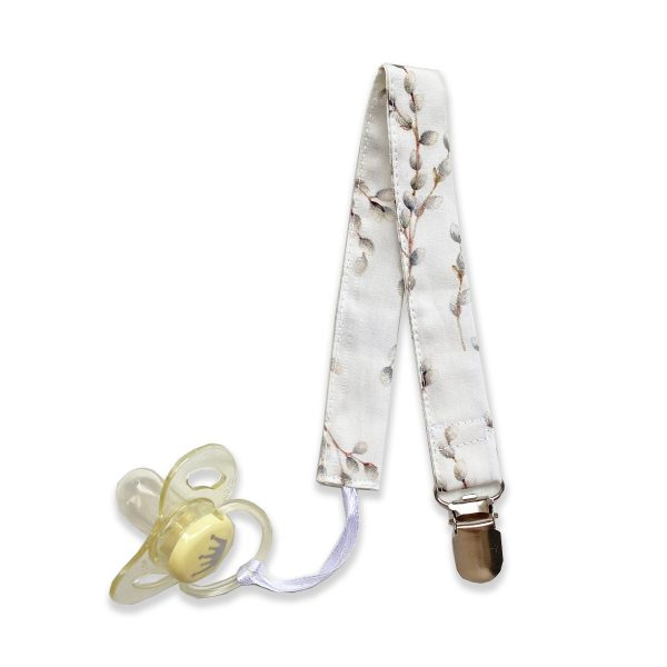 Cotton baby pacifier clip in willow pattern